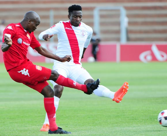 Zamuxolo Ngalo of Highlands Park challenged by Moeketsi Sekola of Free State Stars during the 2016/17 ABSA Premiership game between Highlands Park and Free State Stars at Makhulong Stadium on 30 October 2016 ©Aubrey Kgakatsi/BackpagePix