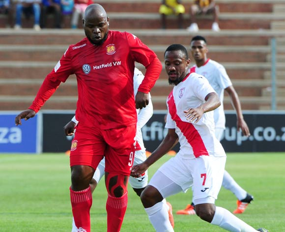 Collins Mbesuma of Highlands Park challenged by Thokozani Sekotlong of Free State Stars of Free State Stars during the 2016/17 ABSA Premiership game between Highlands Park and Free State Stars at Makhulong Stadium on 30 October 2016 ©Aubrey Kgakatsi/BackpagePix