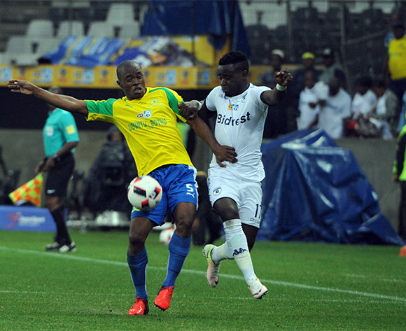 Asavela Mbekile of Mamelodi Sundowns challemnges Gabadinho Mhango of Bidvest Wits during the MTN8 Final match between Mamelodi Sundowns and Bidvest Wits on the  01 October 2016 at Mbombela Stadium  Pic Sydney Mahlangu/ BackpagePix