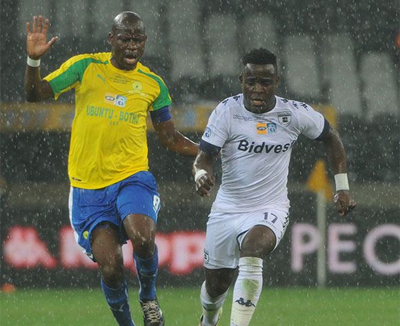 Hlompho Kekana of Mamelodi Sundowns challemnges Gabadinho Mhango of Bidvest Wits during the MTN8 Final match between Mamelodi Sundowns and Bidvest Wits on the  01 October 2016 at Mbombela Stadium  Pic Sydney Mahlangu/ BackpagePix