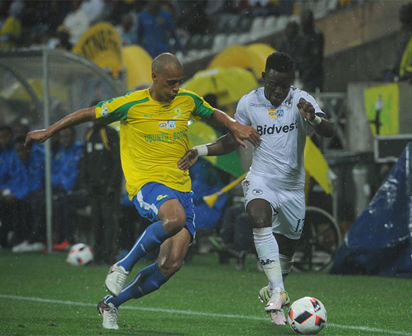 Wayne Arendse of Mamelodi Sundowns challemnges Gabadinho Mhango of Bidvest Wits during the MTN8 Final match between Mamelodi Sundowns and Bidvest Wits on the  01 October 2016 at Mbombela Stadium  Pic Sydney Mahlangu/ BackpagePix