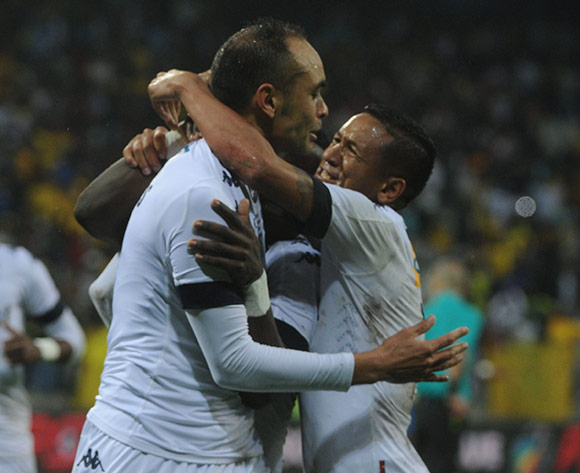 Eleazar Rodgers of Bidvest Wits celebrates a goal with teammates during the MTN8 Final match between Mamelodi Sundowns and Bidvest Wits on the  01 October 2016 at Mbombela Stadium  Pic Sydney Mahlangu/ BackpagePix