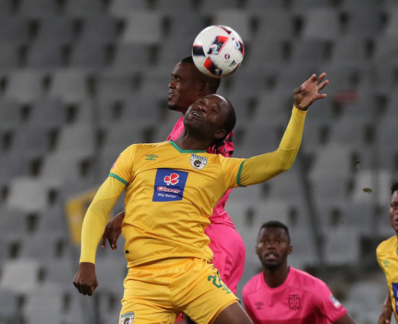Caswell Chauke of Baroka FC battles for the ball with Given Mashikinya of Cape Town City FC during the Absa Premiership 2016/17 football match between Cape Town City FC and Baroka FC at Cape Town Stadium, Cape Town on 15 October 2016 ©Chris Ricco/BackpagePix