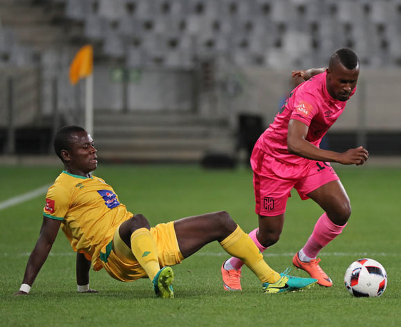 Bhongolethu Jayiya of Cape Town City FC evades challenge from Phineas Ravhuhali of Baroka FC during the Absa Premiership 2016/17 football match between Cape Town City FC and Baroka FC at Cape Town Stadium, Cape Town on 15 October 2016 ©Chris Ricco/BackpagePix