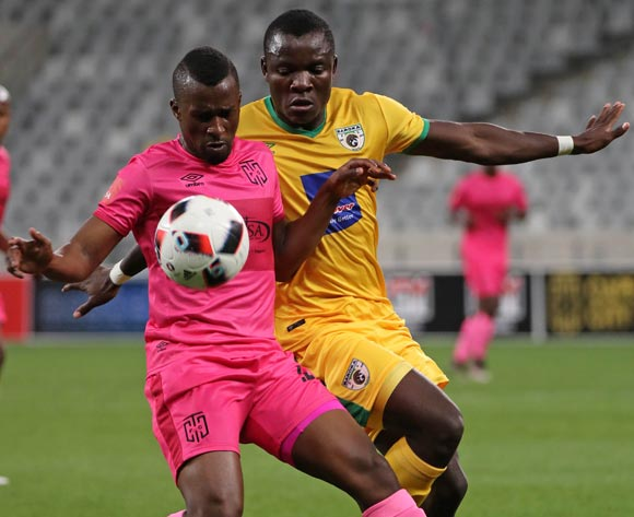Bhongolethu Jayiya of Cape Town City FC battles for the ball with Phineas Ravhuhali of Baroka FC during the Absa Premiership 2016/17 football match between Cape Town City FC and Baroka FC at Cape Town Stadium, Cape Town on 15 October 2016 ©Chris Ricco/BackpagePix