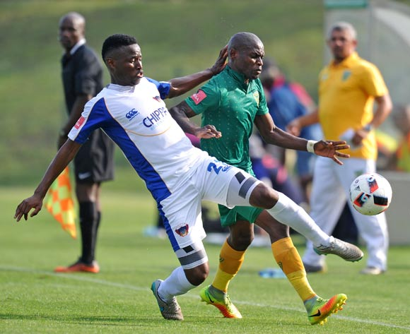 Lerato Lamola of Golden Arrow challenged by Thamsanqa Sangweni of Chippa United during the Absa Premiership 2016/17 match between Golden Arrows and Chippa United at Princess Magogo Stadium, KwaMashu South Africa on 15 October 2016 ©Muzi Ntombela/BackpagePix