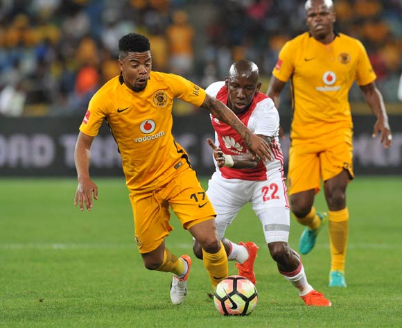 George Lebese of Kaizer Chiefs challenged by Mark Mayambela of Ajax Cape Town during the Absa Premiership 2016/17 match between Kaizer Chiefs and Ajax Cape Town at Moses Mabhida Stadium, KwaMashu South Africa on 15 October 2016 ©Muzi Ntombela/BackpagePix