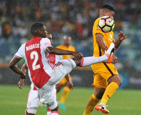 Ntuthuko Mabaso of Ajax Cape Town clears ball from George Lebese of Kaizer Chiefs during the Absa Premiership 2016/17 match between Kaizer Chiefs and Ajax Cape Town at Moses Mabhida Stadium, KwaMashu South Africa on 15 October 2016 ©Muzi Ntombela/BackpagePix