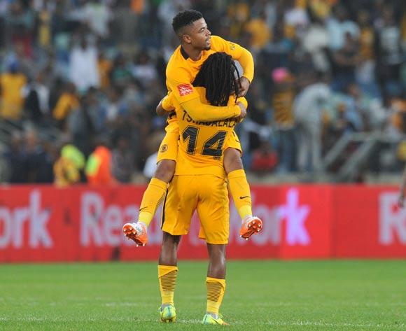 George Lebese celebrates goal with teammate Siphiwe Tshabalala of Kaizer Chiefs during the Absa Premiership 2016/17 match between Kaizer Chiefs and Ajax Cape Town at Moses Mabhida Stadium, KwaMashu South Africa on 15 October 2016 ©Muzi Ntombela/BackpagePix