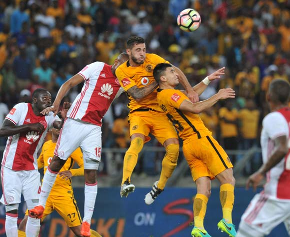 Daniel Cardoso and Lorenzo Gordinho of Kaizer Chiefs clear ball from Grant Margeman of Ajax Cape Town during the Absa Premiership 2016/17 match between Kaizer Chiefs and Ajax Cape Town at Moses Mabhida Stadium, KwaMashu South Africa on 15 October 2016 ©Muzi Ntombela/BackpagePix
