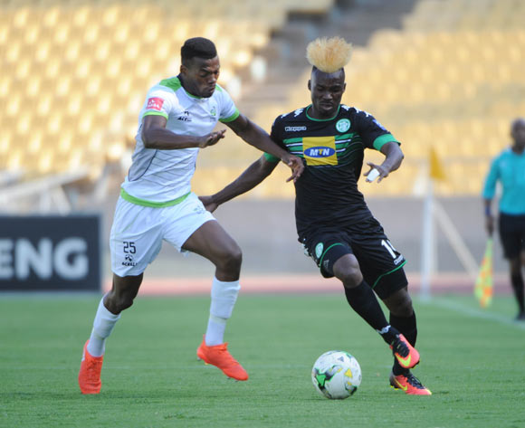 Fiston Abdoul of Bloemfontein Celtic is challenged by Isaac Nhlapo of Platinum Stars during the Absa Premiership match between Platinum Stars and Bloemfontein Celtic on the 15 October 2016 at Royal Bafokeng Stadium Pic Sydney Mahlangu/ BackpagePix