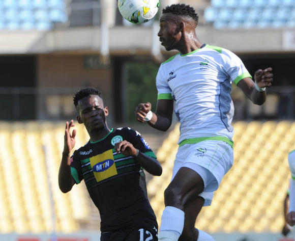 Kabelo Mahlasela of Bloemfontein Celtic is challenged by Siphiwe Mnguni of Platinum Stars during the Absa Premiership match between Platinum Stars and Bloemfontein Celtic on the 15 October 2016 at Royal Bafokeng Stadium Pic Sydney Mahlangu/ BackpagePix