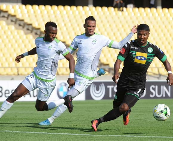 Lyle Lakay of Bloemfontein Celtic is challenged by Siphiwe Mnguni (l) and Ryan De Jongh of Platinum Stars during the Absa Premiership match between Platinum Stars and Bloemfontein Celtic on the 15 October 2016 at Royal Bafokeng Stadium Pic Sydney Mahlangu/ BackpagePix