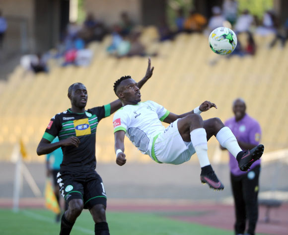 Deon Hotto of Bloemfontein Celtic challenges Siphiwe Mnguni of Platinum Stars during the Absa Premiership match between Platinum Stars and Bloemfontein Celtic on the 15 October 2016 at Royal Bafokeng Stadium Pic Sydney Mahlangu/ BackpagePix
