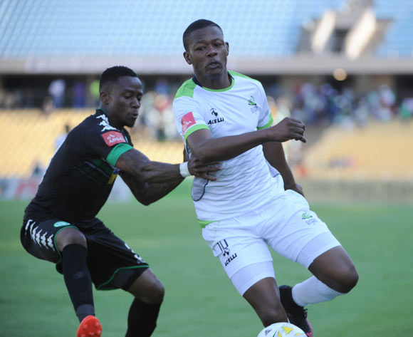Mthokozisi Dube of Bloemfontein Celtic challenges Ndumiso Mabena of Platinum Stars during the Absa Premiership match between Platinum Stars and Bloemfontein Celtic on the 15 October 2016 at Royal Bafokeng Stadium Pic Sydney Mahlangu/ BackpagePix
