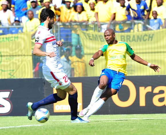 Tebogo Langerman of Mamelodi Sundowns challenged by Ali Mossad of Zamalek during the 2016 Caf Champions League Final match between Mamelodi Sundowns and Zamalek at Lucas Moripe Stadium, Pretoria on 15 October 2016©Samuel Shivambu/Backpagepix