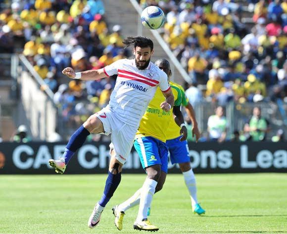 Basem Abdalla of Zamalek challenged by Hlompho Kekana of Mamelodi Sundowns during the 2016 Caf Champions League Final match between Mamelodi Sundowns and Zamalek at Lucas Moripe Stadium, Pretoria on 15 October 2016©Samuel Shivambu/Backpagepix