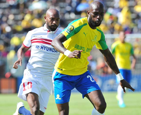Anthony Laffor of Mamelodi Sundowns challenged by Mahmoud Fadlalla of Zamalek during the 2016 Caf Champions League Final match between Mamelodi Sundowns and Zamalek at Lucas Moripe Stadium, Pretoria on 15 October 2016©Samuel Shivambu/Backpagepix