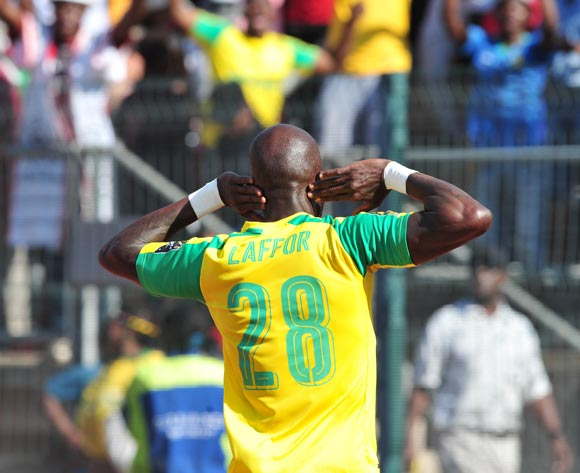Anthony Laffor of Mamelodi Sundowns celebrates his goal during the 2016 Caf Champions League Final match between Mamelodi Sundowns and Zamalek at Lucas Moripe Stadium, Pretoria on 15 October 2016©Samuel Shivambu/Backpagepix