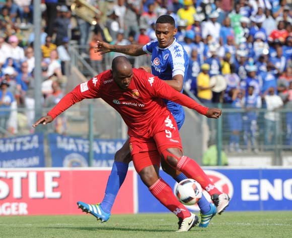 Collins Mbesuma of Highlands Park is challenged by Mario Booysen of Supersport United during the Absa Premiership match between Supersport United and Highlands Park on the  16 October 2016 at Lucas Moripe Stadium Pic Sydney Mahlangu/ BackpagePix