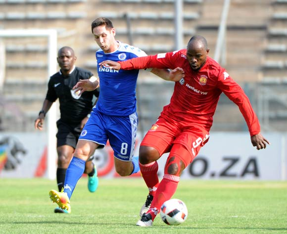 Collins Mbesuma of Highlands Park is challenged by Dean Furman of Supersport United during the Absa Premiership match between Supersport United and Highlands Park on the  16 October 2016 at Lucas Moripe Stadium Pic Sydney Mahlangu/ BackpagePix