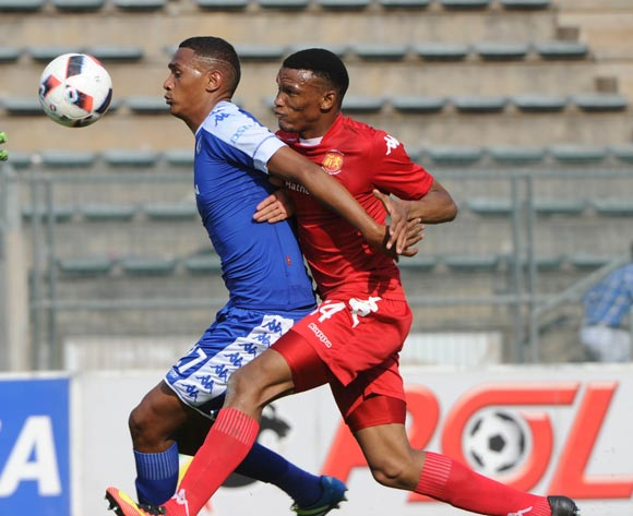 Mothobi Mvala of Highlands Park challenges Mario Booysen of Supersport United during the Absa Premiership match between Supersport United and Highlands Park on the  16 October 2016 at Lucas Moripe Stadium Pic Sydney Mahlangu/ BackpagePix