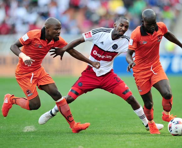 Thabo Rakhale (c) of Orlando Pirates challenged by Simphiwe Hlongwane (r) and Puleng Tlolane (l) of Polokwane City during the Absa Premiership match between Polokwane City and Orlando Pirates at the Peter Mokaba Stadium in Polokwane on 16 October 2016©Samuel Shivambu/Backpagepix