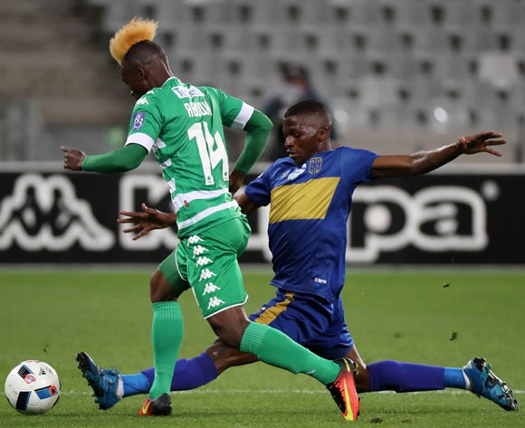 Fiston Abdoul of Bloemfontein Celtic tackled by Thamsanqa Mkhize of Cape Town City FC during the 2016 Telkom Knockout Last 16 football match between Cape Town City FC and Bloemfontein Celtic at Cape Town Stadium, Cape Town on 19 October 2016  ©Chris Ricco/BackpagePix