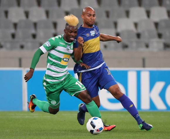 Fiston Abdoul of Bloemfontein Celtic battles for the ball with Robyn Johannes of Cape Town City FC during the 2016 Telkom Knockout Last 16 football match between Cape Town City FC and Bloemfontein Celtic at Cape Town Stadium, Cape Town on 19 October 2016  ©Chris Ricco/BackpagePix