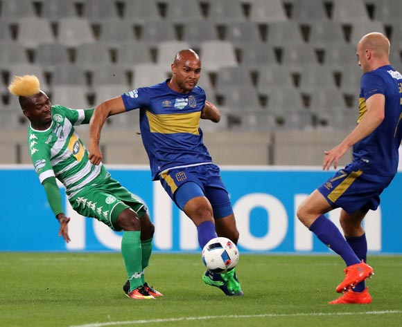 Fiston Abdoul of Bloemfontein Celtic battles for the ball with Robyn Johannes of Cape Town City FC and Matt Sim of Cape Town City FC (r) during the 2016 Telkom Knockout Last 16 football match between Cape Town City FC and Bloemfontein Celtic at Cape Town Stadium, Cape Town on 19 October 2016  ©Chris Ricco/BackpagePix