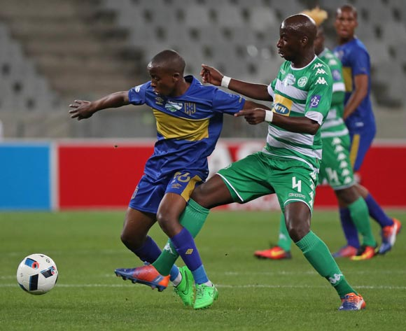 Thabo Nodada of Cape Town City FC tackled by Musa Nyatama of Bloemfontein Celtic during the 2016 Telkom Knockout Last 16 football match between Cape Town City FC and Bloemfontein Celtic at Cape Town Stadium, Cape Town on 19 October 2016  ©Chris Ricco/BackpagePix