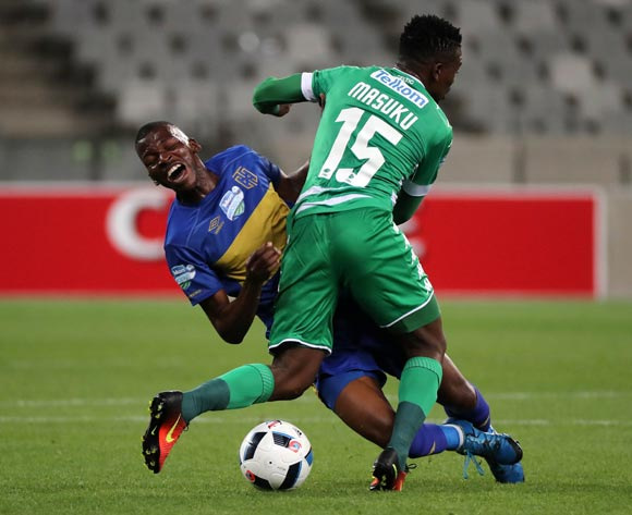 Thamsanqa Mkhize of Cape Town City FC fouled by Khethokwakhe Masuku of Bloemfontein Celtic during the 2016 Telkom Knockout Last 16 football match between Cape Town City FC and Bloemfontein Celtic at Cape Town Stadium, Cape Town on 19 October 2016  ©Chris Ricco/BackpagePix