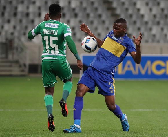 Thamsanqa Mkhize of Cape Town City FC battles for the ball with Khethokwakhe Masuku of Bloemfontein Celtic Thamsanqa Mkhize of Cape Town City FC during the 2016 Telkom Knockout Last 16 football match between Cape Town City FC and Bloemfontein Celtic at Cape Town Stadium, Cape Town on 19 October 2016  ©Chris Ricco/BackpagePix