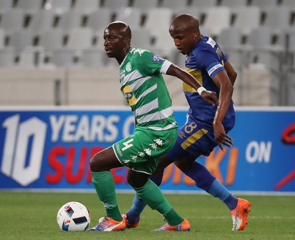 Musa Nyatama of Bloemfontein Celtic evades challenge from Lebogang Manyama of Cape Town City FC during the 2016 Telkom Knockout Last 16 football match between Cape Town City FC and Bloemfontein Celtic at Cape Town Stadium, Cape Town on 19 October 2016  ©Chris Ricco/BackpagePix