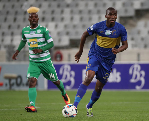 Mpho Matsi of Cape Town City FC gets away from Fiston Abdoul of Bloemfontein Celtic during the 2016 Telkom Knockout Last 16 football match between Cape Town City FC and Bloemfontein Celtic at Cape Town Stadium, Cape Town on 19 October 2016  ©Chris Ricco/BackpagePix