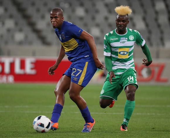 Tshepo Gumede of Cape Town City FC evades challenge from Fiston Abdoul of Bloemfontein Celtic during the 2016 Telkom Knockout Last 16 football match between Cape Town City FC and Bloemfontein Celtic at Cape Town Stadium, Cape Town on 19 October 2016  ©Chris Ricco/BackpagePix