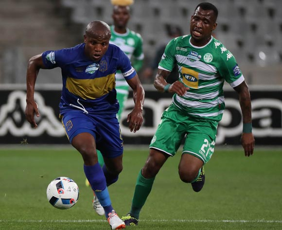 Lebogang Manyama of Cape Town City FC gets away from Alfred Ndengane of Bloemfontein Celtic during the 2016 Telkom Knockout Last 16 football match between Cape Town City FC and Bloemfontein Celtic at Cape Town Stadium, Cape Town on 19 October 2016  ©Chris Ricco/BackpagePix