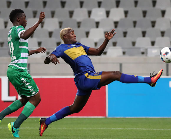 Judas Moseamedi of Cape Town City FC gets away from Tshepo Rikhotso of Bloemfontein Celtic during the 2016 Telkom Knockout Last 16 football match between Cape Town City FC and Bloemfontein Celtic at Cape Town Stadium, Cape Town on 19 October 2016  ©Chris Ricco/BackpagePix