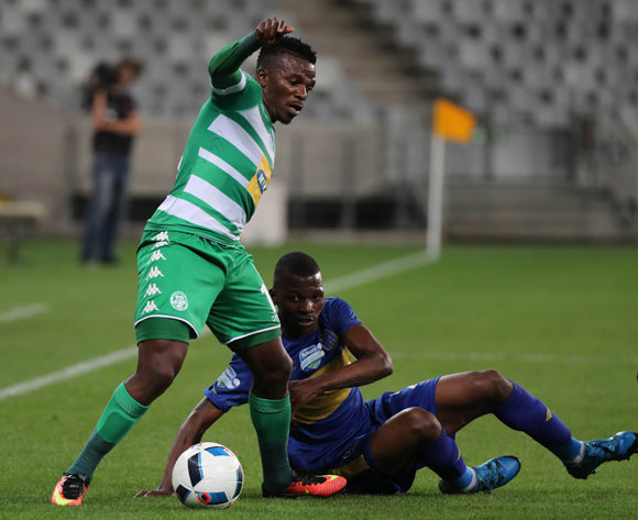 Khethokwakhe Masuku of Bloemfontein Celtic evades challenge from Thamsanqa Mkhize of Cape Town City FC during the 2016 Telkom Knockout Last 16 football match between Cape Town City FC and Bloemfontein Celtic at Cape Town Stadium, Cape Town on 19 October 2016  ©Chris Ricco/BackpagePix