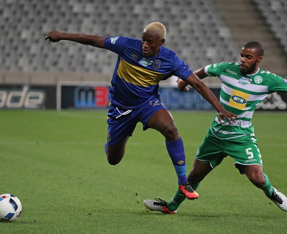 Judas Moseamedi of Cape Town City FC evades challenge from Wandisile Letlabika of Bloemfontein Celtic during the 2016 Telkom Knockout Last 16 football match between Cape Town City FC and Bloemfontein Celtic at Cape Town Stadium, Cape Town on 19 October 2016  ©Chris Ricco/BackpagePix