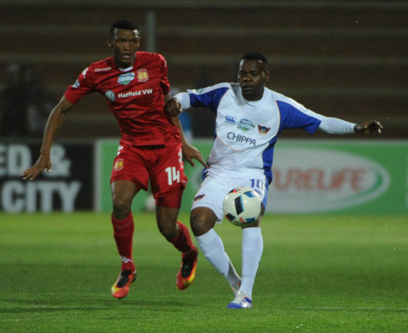 Andile Mbenyane of Chippa United is challenged by Mothobi Mvala of Highlands Park  during the Telkom Knockout Last 16 match between Highlands Park and Chippa United  on the  21 October 2016 at Makhulong Stadium Pic Sydney Mahlangu/ BackpagePix