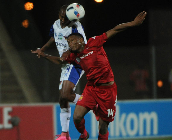 Conrad Madolo of Chippa United is challenged by Mothobi Mvala of Highlands Park  during the Telkom Knockout Last 16 match between Highlands Park and Chippa United  on the  21 October 2016 at Makhulong Stadium Pic Sydney Mahlangu/ BackpagePix