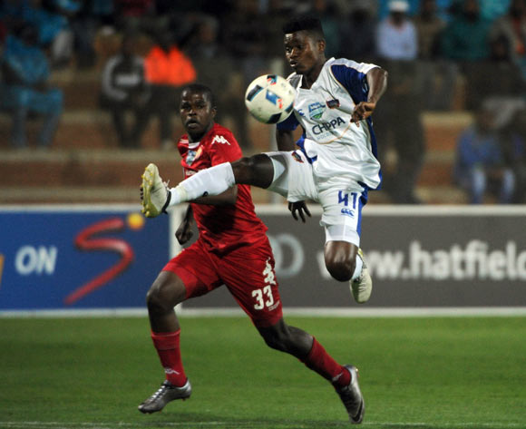 Menzi Masuku of Chippa United is challenged by Junior Sibande of Highlands Park  during the Telkom Knockout Last 16 match between Highlands Park and Chippa United  on the  21 October 2016 at Makhulong Stadium Pic Sydney Mahlangu/ BackpagePix