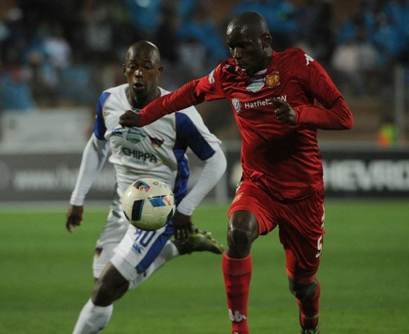 Thanduyise Khuboni of Highlands Park is challenged by Bonging Khama of Chippa United  during the Telkom Knockout Last 16 match between Highlands Park and Chippa United  on the  21 October 2016 at Makhulong Stadium Pic Sydney Mahlangu/ BackpagePix