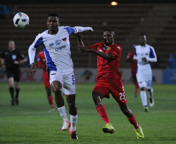 Mpho Sitaytayi of Highlands Park challenges James Okwuosa of Chippa United during the Telkom Knockout Last 16 match between Highlands Park and Chippa United  on the  21 October 2016 at Makhulong Stadium Pic Sydney Mahlangu/ BackpagePix