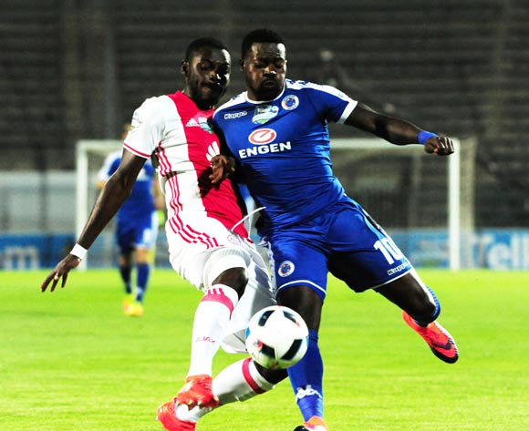 Erick Chipeta of Ajax Cape Town challenges Kingston Nkhatha of Supersport United during the 2016 Telkom Knockout Cup match between Supersport United and Ajax Cape Town at Lucas Moripe Stadium on 22 October 2016 ©Aubrey Kgakatsi/BackpagePix
