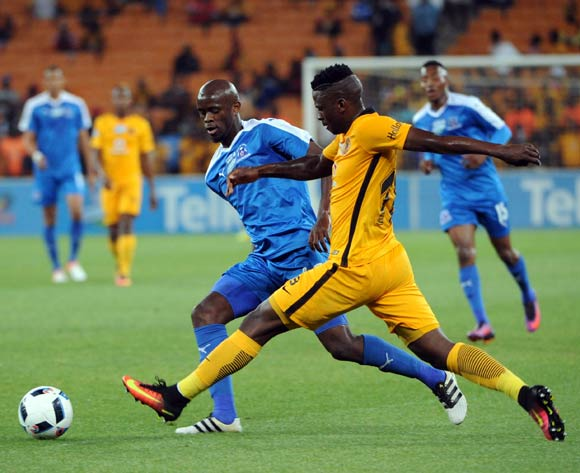 Kwanda Mngonyama of Maritzburg United is challenged by Kgotso Moleko of Kaizer Chiefs during the Telkom Knockout Last 16 match between Kaizer Chiefs and Maritzburg United  on the  22 October 2016 at FNB Stadium Pic Sydney Mahlangu/ BackpagePix