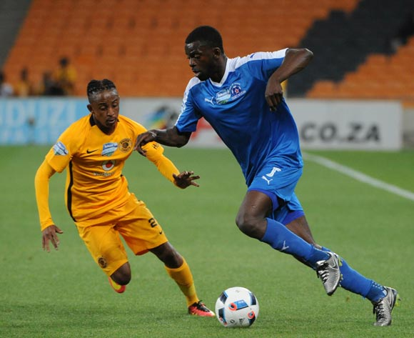 Denis Weidlich of Maritzburg United is challenged by Hendrick Ekstein of Kaizer Chiefs during the Telkom Knockout Last 16 match between Kaizer Chiefs and Maritzburg United  on the  22 October 2016 at FNB Stadium Pic Sydney Mahlangu/ BackpagePix