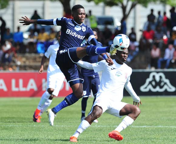 Thabang Monare of Bidvest Wits challenged by Sthembiso Dlamini of Free State Stars during the Telkom Knockout Last 16 match between Free State Stars and Bidvest Wits at the Goble Park Stadium in Free State on the 22 October 2016©Samuel Shivambu/Backpagepix