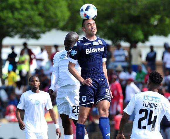 Eleazer Rodgers of Bidvest Wits challenged by Sthembiso Dlamini of Free State Stars during the Telkom Knockout Last 16 match between Free State Stars and Bidvest Wits at the Goble Park Stadium in Free State on the 22 October 2016©Samuel Shivambu/Backpagepix